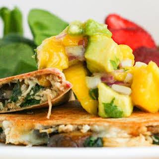 Mango Avocado Chutney on Healthy Chicken Quesadillas.