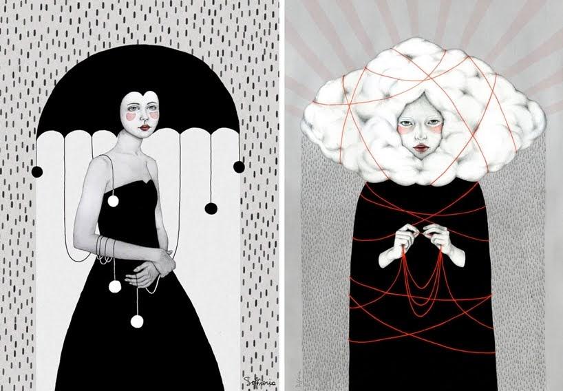 Retratos matizados de mujeres fusionadas con ambientes abstractos por Sofia Bonati