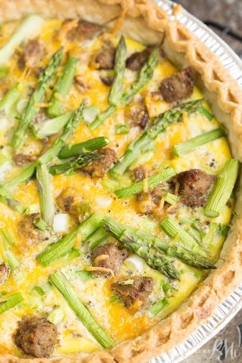 "Turkey Sausage Asparagus Quiche ""Turkey Sausage Asparagus Quiche is a simple and..."