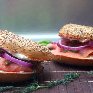 Everything Bagel and Salmon (Lochs) Sandwich.