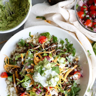 Beef Burrito Bowls with Cilantro Lime Cauliflower Rice.