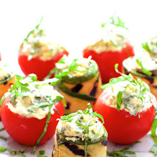 Cream Cheese and Artichoke Stuffed Tomatoes and Grilled Zucchini.
