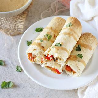 Vegan Thai Vegetable Taquitos with Peanut Sauce