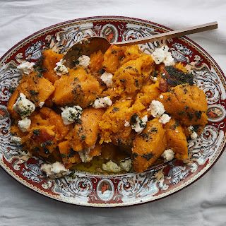 Roasted Butternut with Herb Oil and Goat Cheese