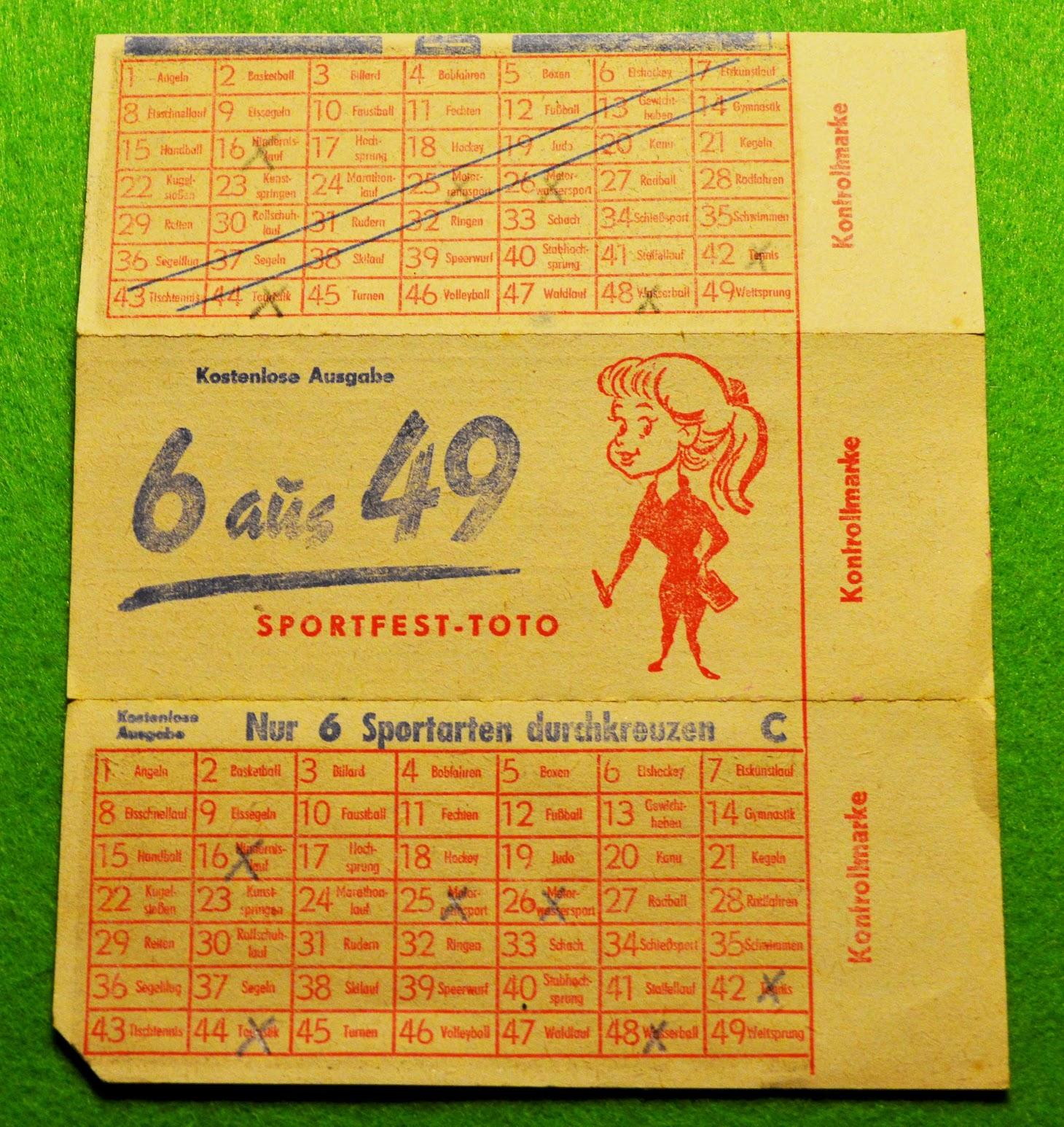 DDR - Lottoschein Sportfest-Toto 6 aus 49