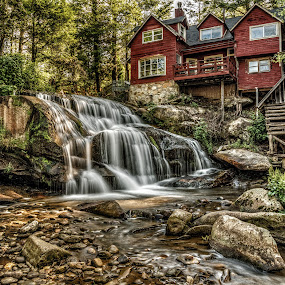 Living waters by Jeremy Yoho - Buildings & Architecture Homes ( water, cabin, stream, nature, waterfall, trees, house, woods, river )