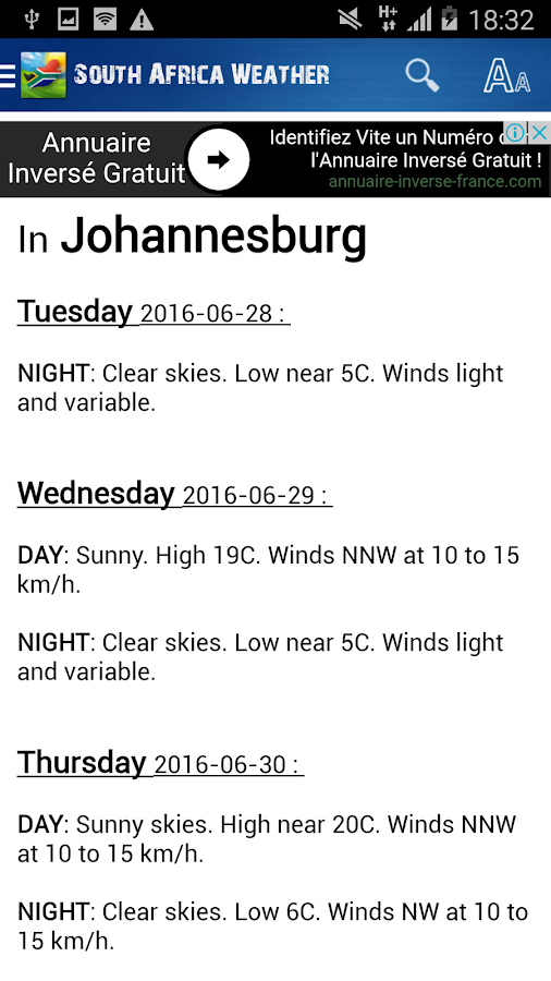 South Africa Weather- screenshot