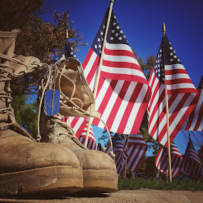 Combat boots and American flags by Stephanie Ostrander Bishop - Public Holidays July 4th ( holiday, flags, patriotic, american, boots, combat boots,  )