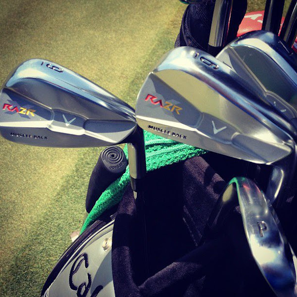 Photo: Close-up of Alvaro's irons with a custom paint job reflecting the colors of the Spanish Flag.