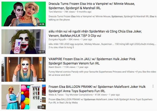 dieu gi se xay ra khi cho tre xem elsa spiderman tren youtube hinh 2