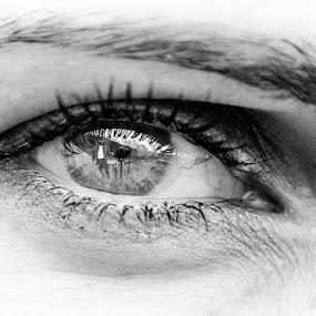 by Adrian Mitu - Black & White Macro ( exposure, reflection, b&w, iso, female, eyebrow, camera, tripod, eyelash, close-up, eye )