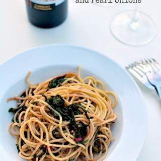 Spaghetti with Red Chard and Pearl Onions