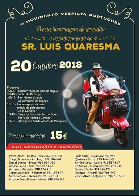 Movimento Vespista Português presta homenagem ao lamecense Luis Quaresma