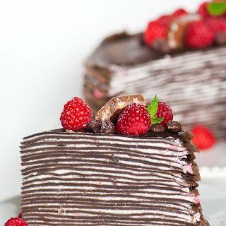 Chocolate Raspberry Crepe Cake.