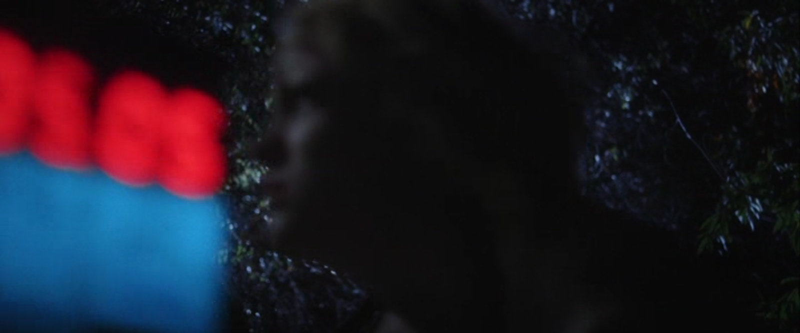 A blurry image of Beth and Anna fighting in the woods. A filmmaker's clapperboard intrudes from the left side of the frame.