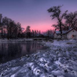 C a b i n - i n - T h e - D a r k by Manu Heiskanen - Uncategorized All Uncategorized ( water, cabin, winter, sky, tree, cold, ice, snow, dark, highlight, light, paulinawolekpardon )