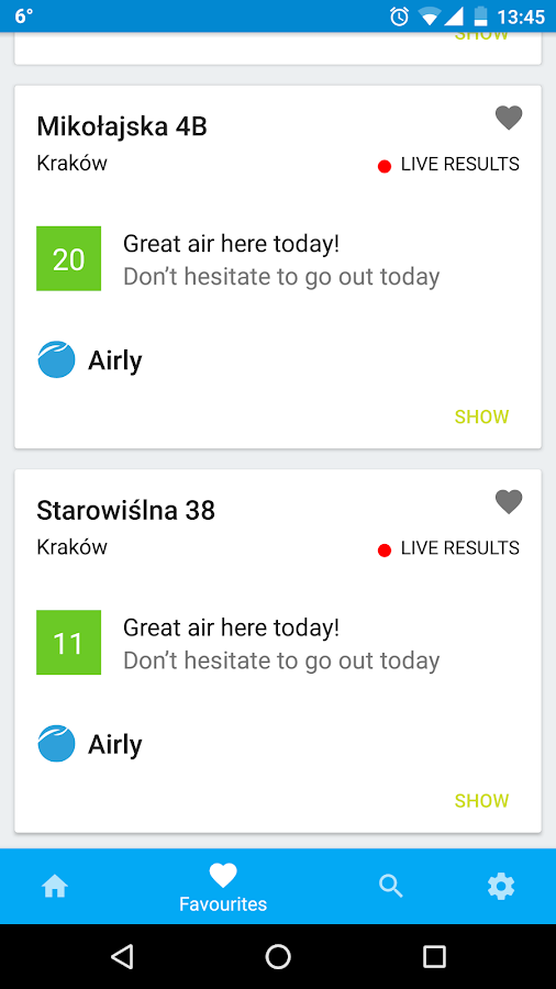 Airly- screenshot