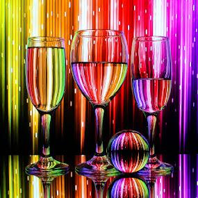 Rainbow Matrix by Sam Sampson - Artistic Objects Glass ( reflection, pattern, glasses, colorful, rainbow )