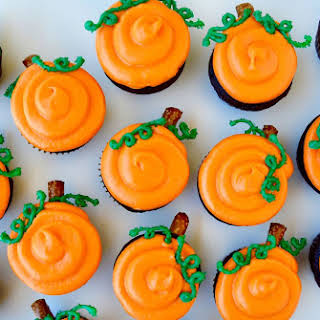 Chocolate Halloween Cupcakes with Cream Cheese Frosting.