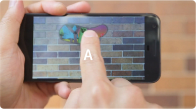 A person opens a playful app on their mobile device.