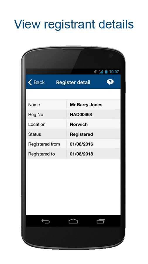 HCPC – Check the Register- screenshot