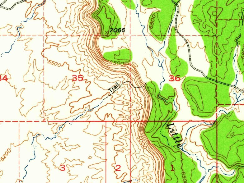 Photo: Cove Trail shown on the 1948 USGS topo for Woodside, Utah