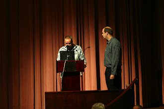 Photo: Erich Gamma doing his keynote with John Wiegand, EclipseCon 2004