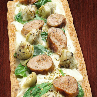 Thin Crust Artichoke Sausage Flatbread Pizza.