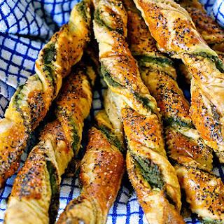 Pesto Black Pepper Pancetta Breadsticks