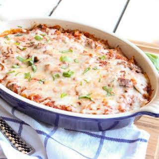 Eggplant and Italian Sausage Baked Ziti.
