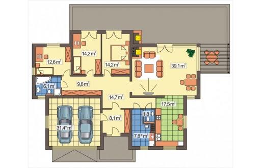 Agat wersja B dach 32 stopnie - Rzut parteru
