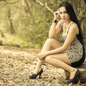 Thinking of you by Putu Anggara - People Portraits of Women ( looking, thinking, forest, beauty, woods )