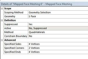ANSYS | Задание типа вершин в свойствах (Details) инструмента «Face Meshing»
