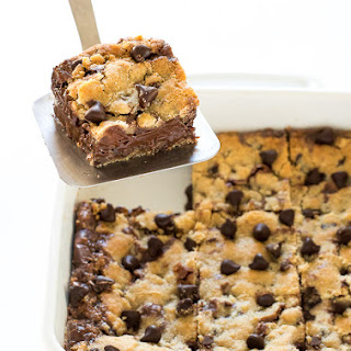 Fudge Stuffed Chocolate Chip Cookie Bars Recipe