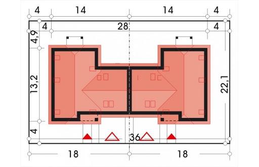 Cyprys bliźniak wersja B 2G, 2 ściany między segm. - Sytuacja
