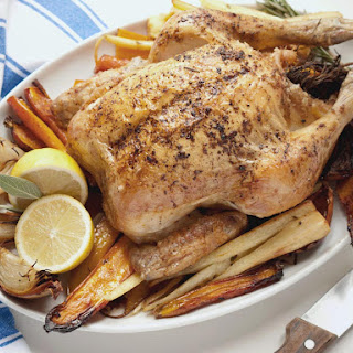 Roast Chicken with Roasted Root Vegetables Recipe