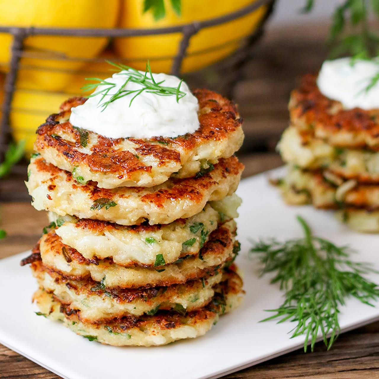 Cauliflower Fritters With Homemade Tzatziki