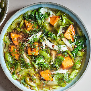 Lentil and Chicken Soup with Sweet Potatoes and Escarole recipe | Epicurious.com.