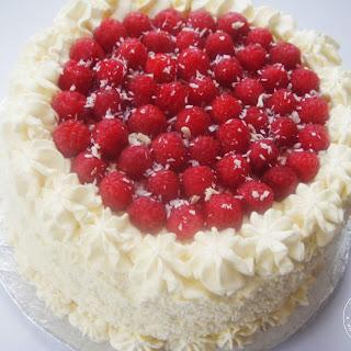 Coconut, Raspberry & White Chocolate Cream Cake