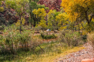 Photo: View of our campsite at the bottom of the Grand Canyon Nation Park, Arizona, USA