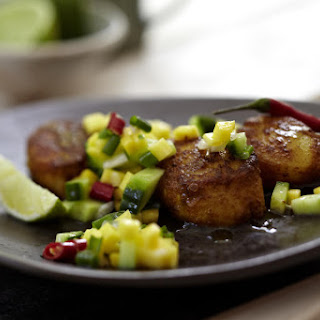 Scallops with Cucumber and Mango Relish.