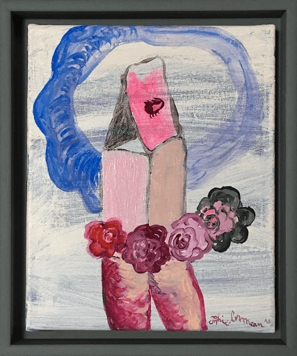 maison-de-cartes-sophie-lormeau-artiste-contemporain-figuratif-poetique-onirique-singulier-art-contemporain-french-woman-artist-singular-figurative-contemporary-colorul-home-power-flower-fleur-rose-floraison-acrylic-on-canvas