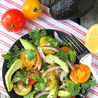 Avocado, Tomato, Kale & Onion Salad.