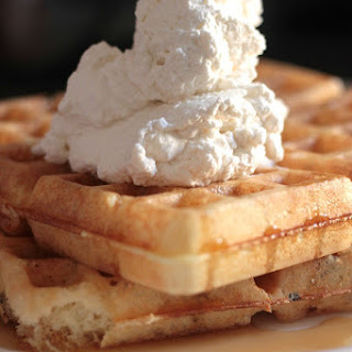 Lavender Waffles with Honey Bourbon Whipped Cream