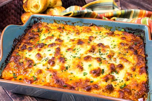 Tasty Keto Lasagna Baked Until Golden Brown.