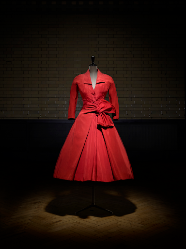Christian Dior V&A Exhibit Red Coat Autumn/Winter 1955 Haute Couture