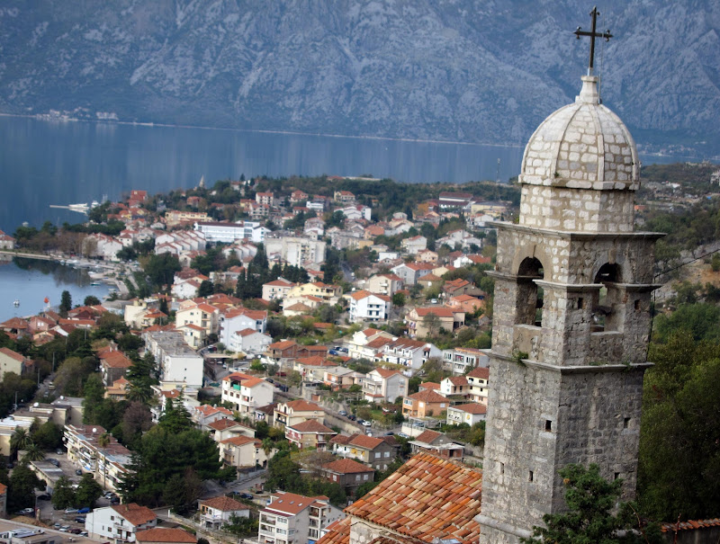 The view from the ramparts above Kotor with the steeple of Church of Our Lady of Remedy at the right.