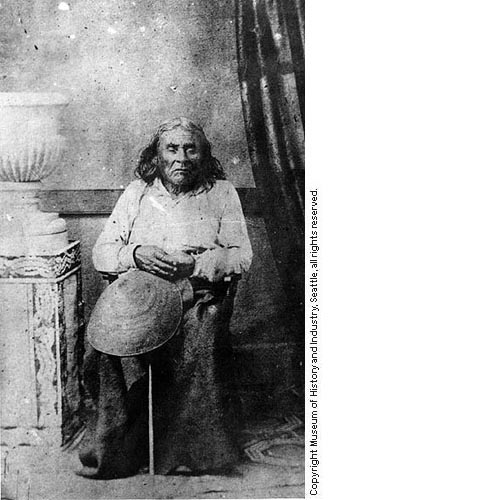 The only known picture of Chief Seattle.  Copyright Museum of History and Industry, Seattle.