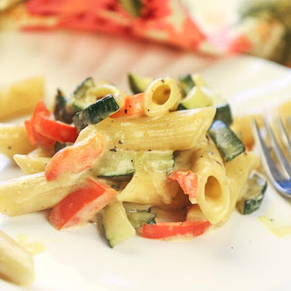 Penne Pasta with Roasted Vegetables in Alfredo Sauce