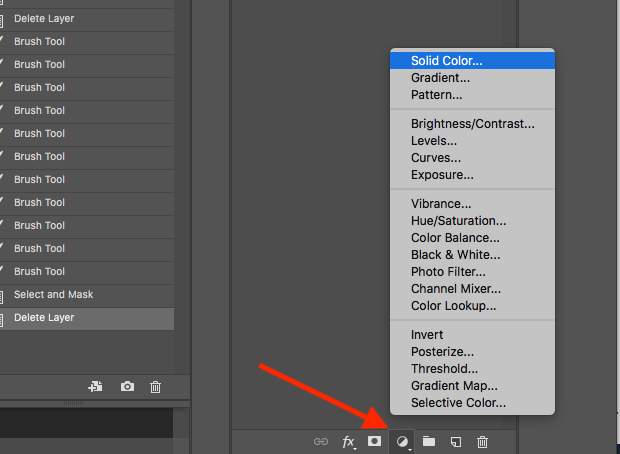 Adjustment Layers button selected and options revealed in Photoshop